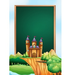 Frame design with castle towers in background vector image vector image