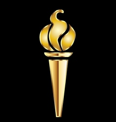 Golden torch flame vector image