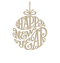 hand drawn phrase happy new year inscribed in a vector image