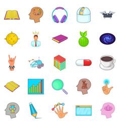 Human mind icons set cartoon style vector