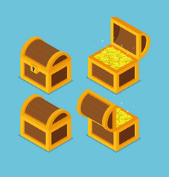 isometric wooden treasure chests vector image