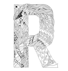 Letter r for coloring decorative zentangle vector