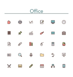 Office Colored Line Icons vector image vector image