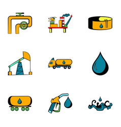 Oil factory icons set cartoon style vector