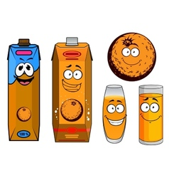 Orange juice cartoon characters vector