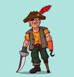 pirate with a sword on a wooden leg instead of vector image vector image