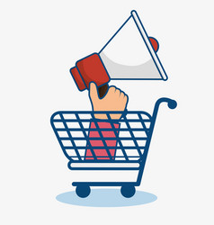 Shopping cart and bullhorn icon vector