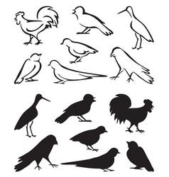 Silhouette birds sitting vector