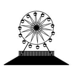 Silhouette ferris wheels vector