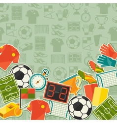 Sports background with soccer football sticker vector
