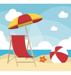 Summer design chair and umbrella icon vector image