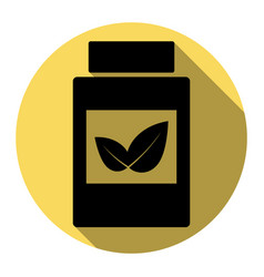 Supplements container sign flat black vector