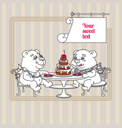 Two hand drawn white cute teddy bear eating cake vector