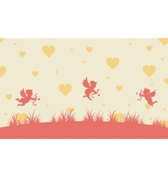 Valentine day with cupid landscape vector image vector image