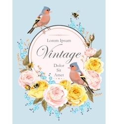 Vintage card with nightingale vector image vector image