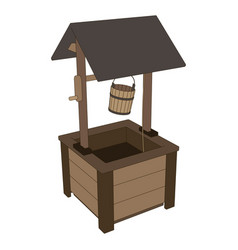 well water wooden old icon roof bucket background vector image vector image