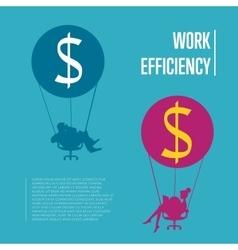 Work efficiency banner business people flying vector