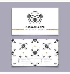 Massage and spa therapy business card template vector