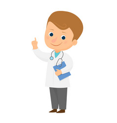 smiling cartoon doctor vector image