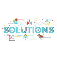 Solutions word lettering vector