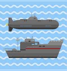 Military technic army war ship and industry vector