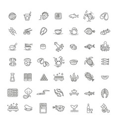 Fish and seafood - outline icon collection vector