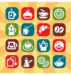 Color coffee and tee icons vector