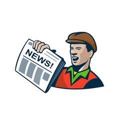 Newsboy newspaper delivery retro vector