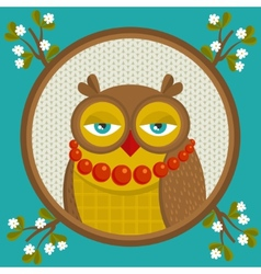 Portrait of fashionable owl in the frame with vector image
