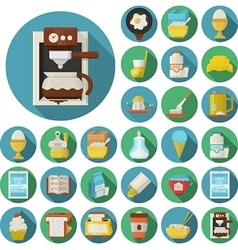 Flat design icons for breakfast vector