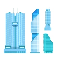 Modern skyscrapers icons set flat design of the vector