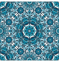 blue floral kaleidoscope pattern vector image vector image