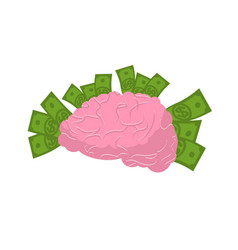 Brain and money isolated business idea concept vector
