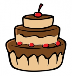 chocolate cake cherries vector image vector image