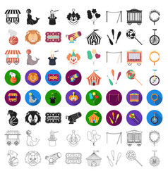 circus set icons in cartoon style big collection vector image