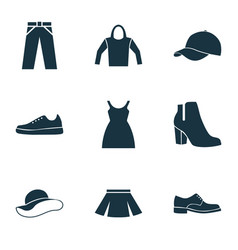 Clothes icons set collection of female winter vector