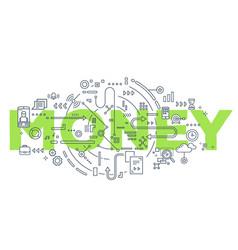 creative of green money word vector image