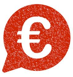 Euro message bubble icon grunge watermark vector