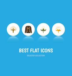 Flat icon fiber set of flower cotton pullover vector