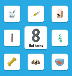 Flat icon pets set of fish nutrient osseous vector