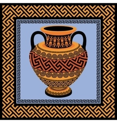 Frame and amphora with greek ornament meander vector