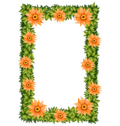 Frame design with orange flowers vector