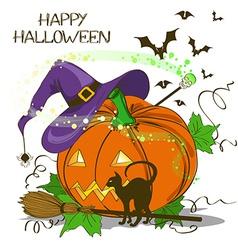 Halloween card with pumpkin vector