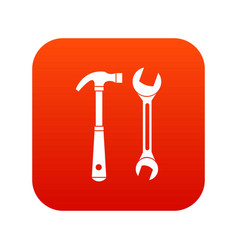 hammer and wrench icon digital red vector image vector image
