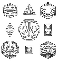 Hand drawn polyhedrons collection vector