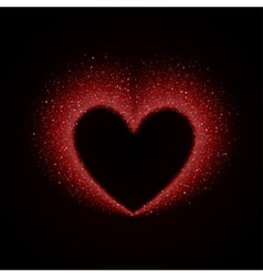 Happy Valentines Day Card with Red Glittering Star vector image vector image