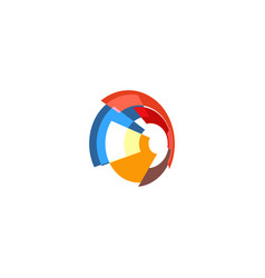 Isolated abstract colorful pie chart logo round vector