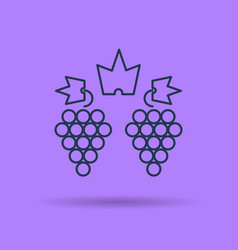 Isolated linear icon of two clusters of grapes vector