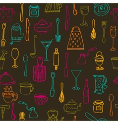 Kitchen tools Kitchen seamless background vector image vector image
