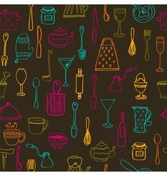 Kitchen tools kitchen seamless background vector